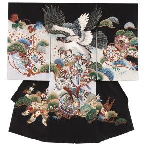 【正絹】お宮参り男の子203 黒 ×水色/鷹と兜