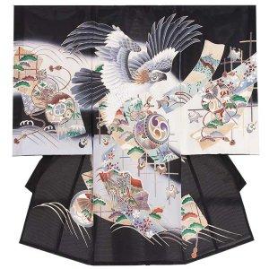 お宮参り男の子66(正絹)黒地/鷹と扇
