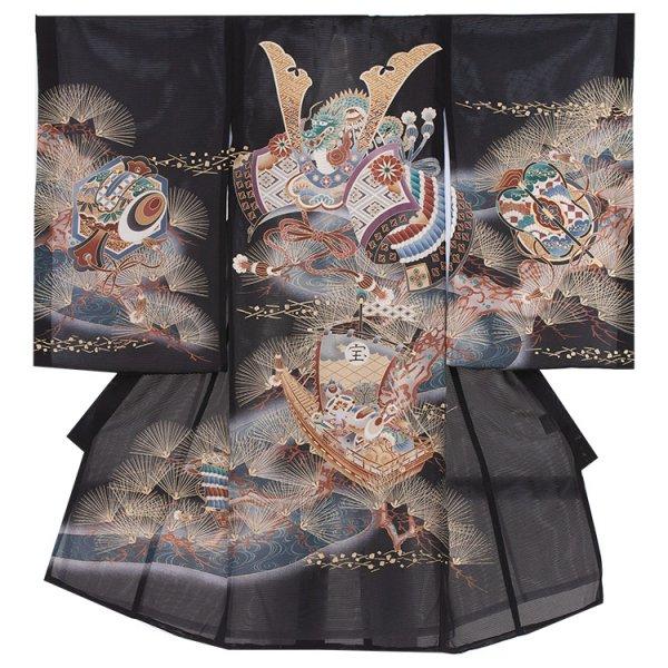 お宮参り男児79(正絹)黒地/兜と金針松