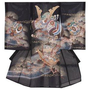 お宮参り男の子79(正絹)黒地/兜と金針松