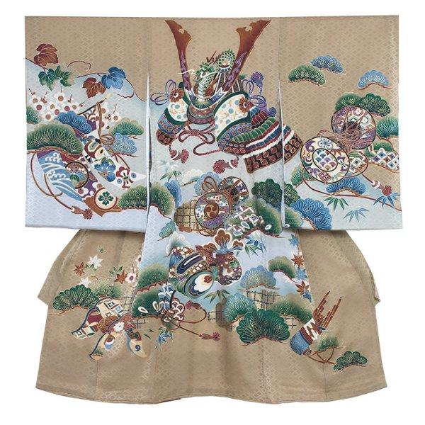 お宮参り男児214 茶緑/兜と緑松