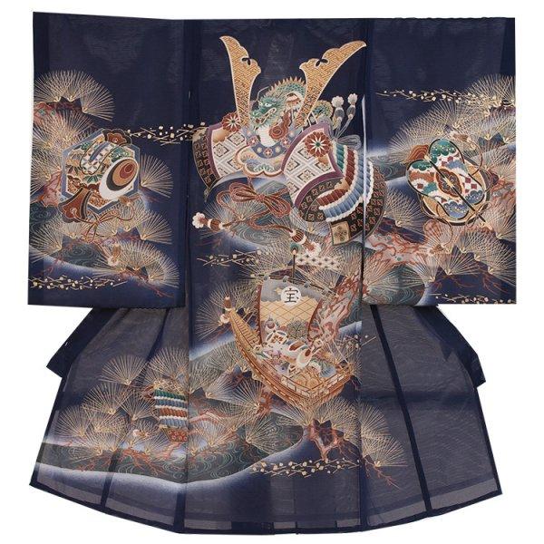 お宮参り男児78(正絹)紺地/兜と金針松