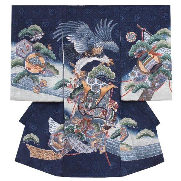 お宮参り男児126 紺地×鷹と兜