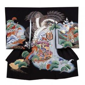 お宮参り男児127 黒地/鷹と宝船