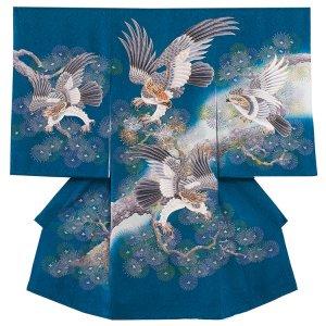 【正絹】お宮参り男の子213 青 /頭金糸の鷹と金銀松