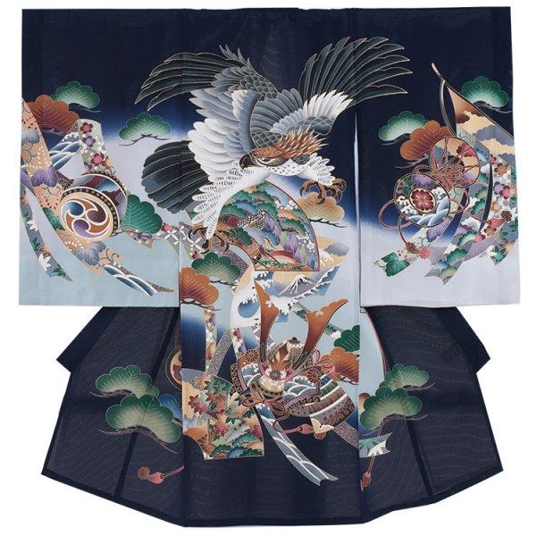 男児産着69(正絹)紺地/鷹と緑松