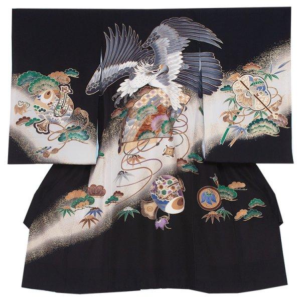 お宮参り男児250 黒地/鷹と金扇