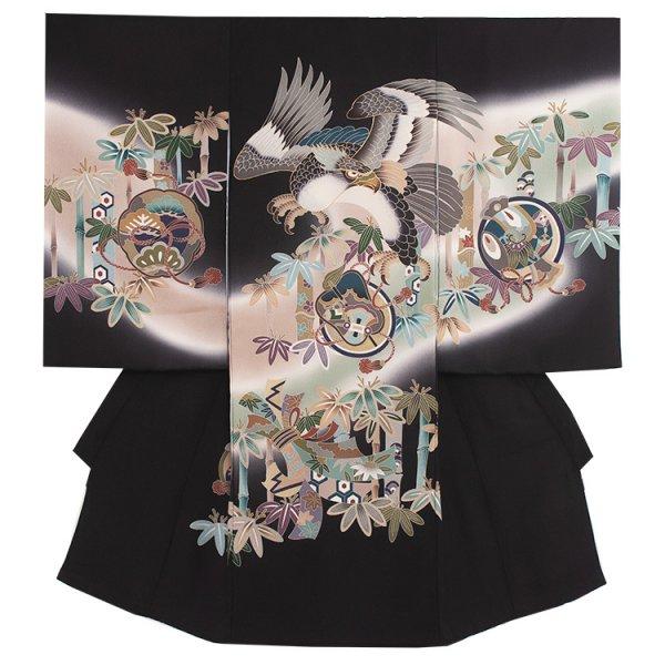お宮参り男児219 黒地/鷹と竹林