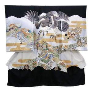 【正絹】お宮参り男の子207 黒×白・鷹と扇