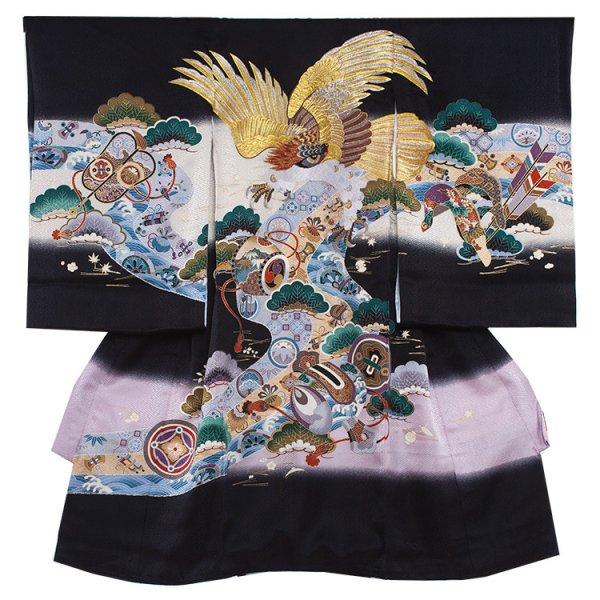 お宮参り男児210 黒地/金の刺繍鷹