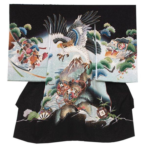 お宮参り男児267 黒地/刺繍鷹と富士 手描