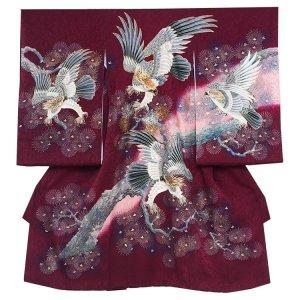 お宮参り男の子245 ワイン /頭金糸の鷹と金