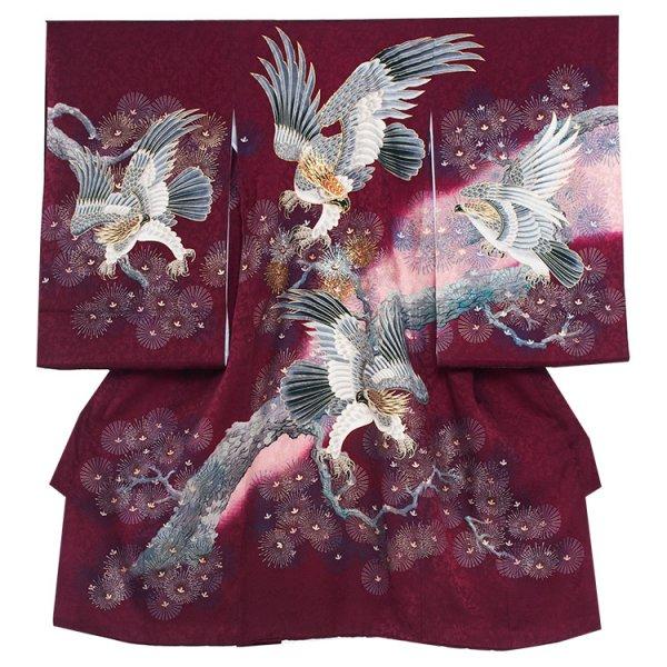お宮参り男児245 ワイン地/頭金糸の鷹と金