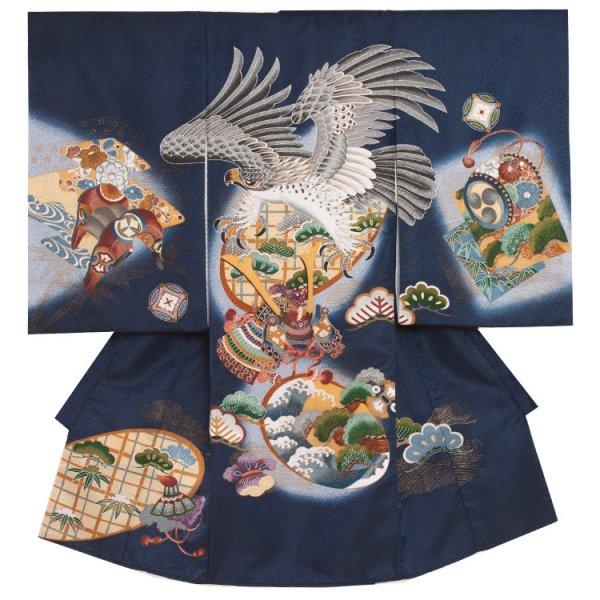 お宮参り男児270 青地/鷹と松に兜