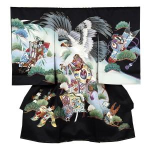【正絹】お宮参り男の子249 黒 /鷹と松
