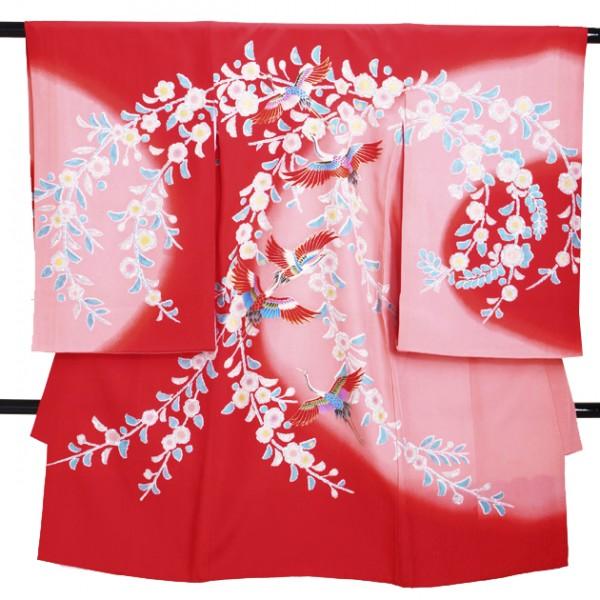 女児産着 G-68 高級正絹 赤ピンク