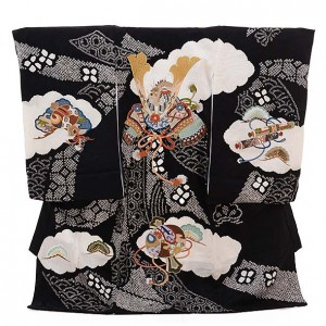 男児産着 お宮参り 正絹 1313 黒地  絞りのしめ かぶと刺繍