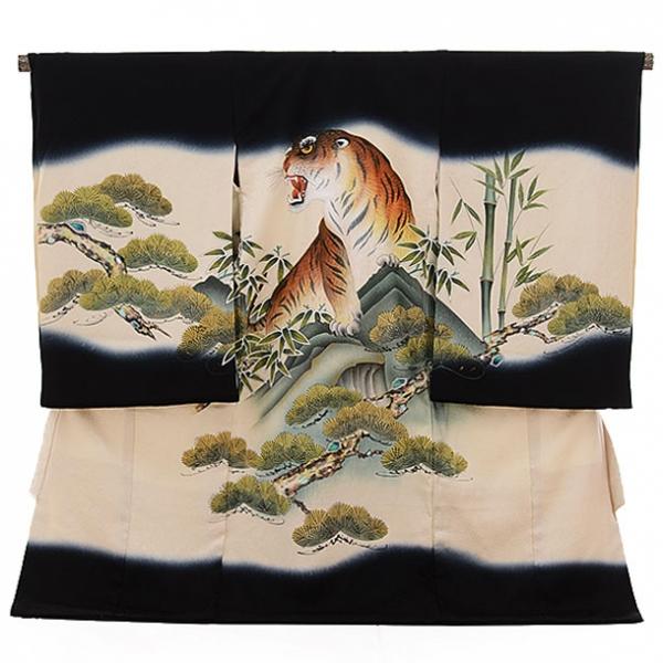 男児産着(お宮参り)1144 黒×ベージュ 虎(正絹)