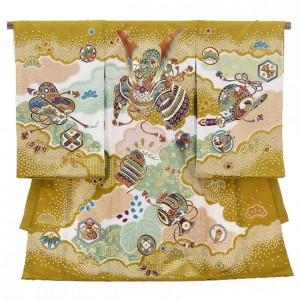 産着レンタル 男の子(お宮参り)1216 ChouChou金茶 兜と小槌