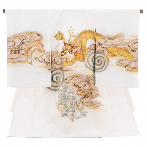 男児産着(お宮参り)1091白 雲龍(正絹)