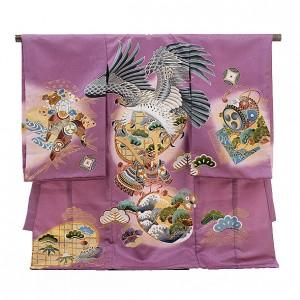 産着レンタル 男の子(お宮参り)1120紫 鷹