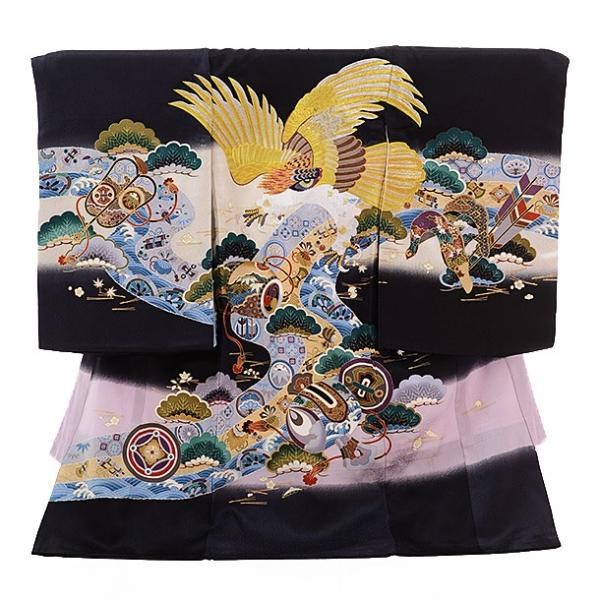 男児産着(お宮参り)1183 黒地 宝尽しに鷹刺繍
