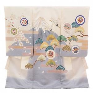 令和記念 男児産着 お宮参り 正絹 1335 白地 富士に鶴