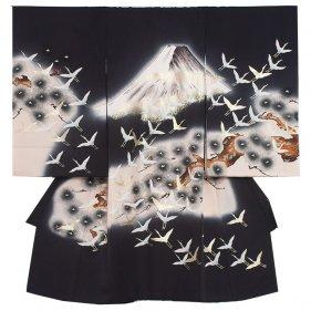 お宮参り男児2045 黒地/富士と鶴の群れ
