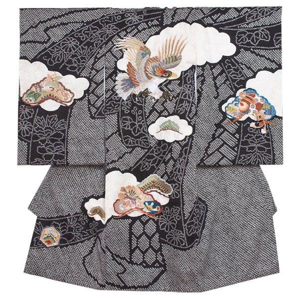 お宮参り男児2012 黒地/刺繍鷹の総絞り調