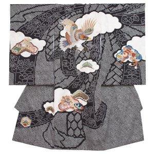 【正絹】お宮参り男の子2012 黒 /刺繍鷹の総絞り調