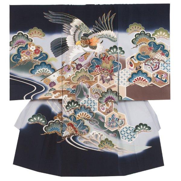 お宮参り男児2040 黒地/鷹と古典