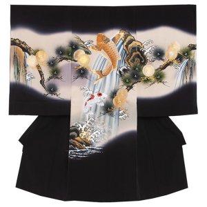 【正絹】お宮参り男の子2131 黒 鯉の滝登り