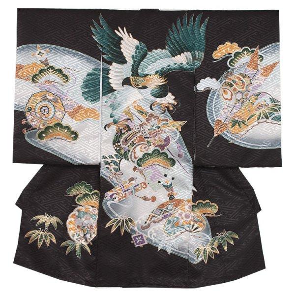 お宮参り男児2059 黒地/鷹と小槌