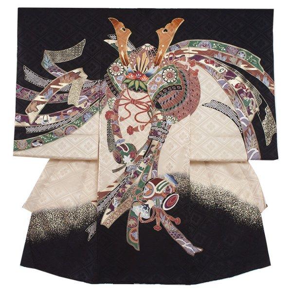 お宮参り男児2014 黒地/兜に小槌と束のし