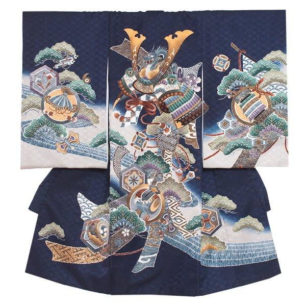 お宮参り男児2008 紺地・兜と松