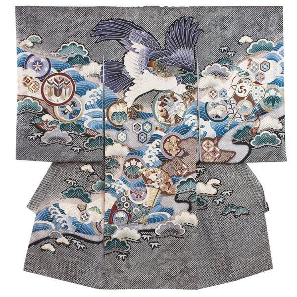 お宮参り男児2054 黒地/絞調鷹と扇