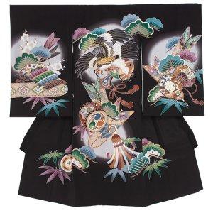 【正絹】お宮参り男の子2103 黒 /鷹と小槌