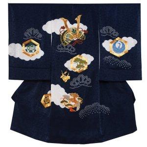 お宮参り男の子2134 紺 /兜刺繍