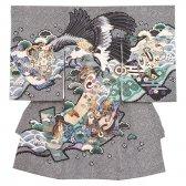 お宮参り男児2011 黒地/金頭鷹の絞り風
