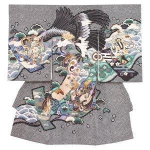 お宮参り男の子2011 黒 /金頭鷹の絞り風