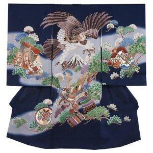 【正絹】お宮参り男の子2186 紺 /鷹と兜