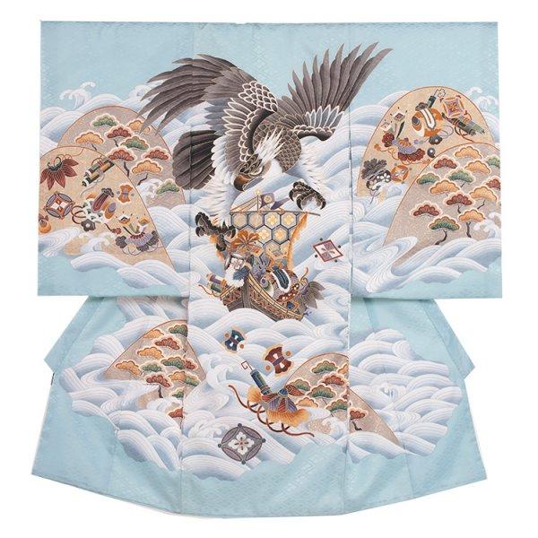 お宮参り男児2105 水色地/鷹と波