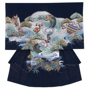 【正絹】お宮参り男の子2136 紺 /龍×渦刺繍