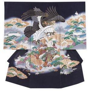 【正絹】お宮参り男の子 2153 紺 /鷹と鶴と城