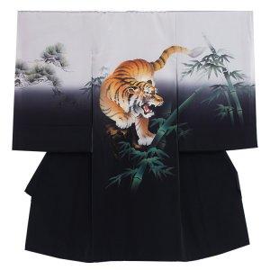 【正絹】お宮参り男の子2046 黒 /手描きの勇虎