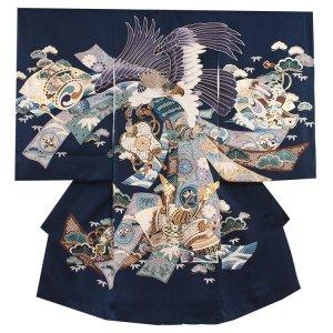 お宮参り男の子2036 紺 /鷹と兜の束のし