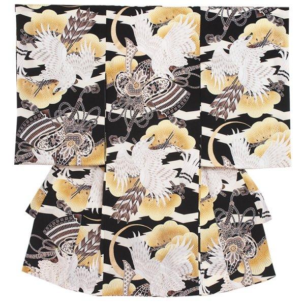 お宮参り男児2060 黒地/白鷹と兜