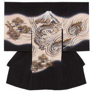 【正絹】お宮参り男の子2114 黒 /素描富士の龍