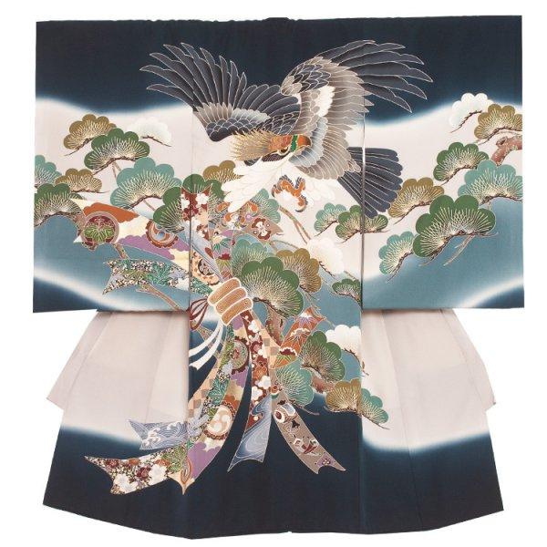お宮参り男児2013 紺緑地/頭刺繍鷹に松束の