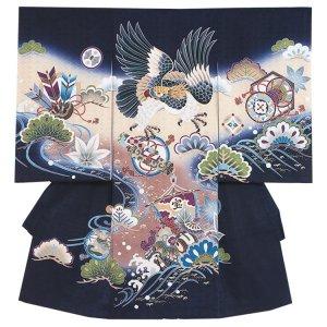 【正絹】お宮参り男の子2183 紺 /鷹と宝船